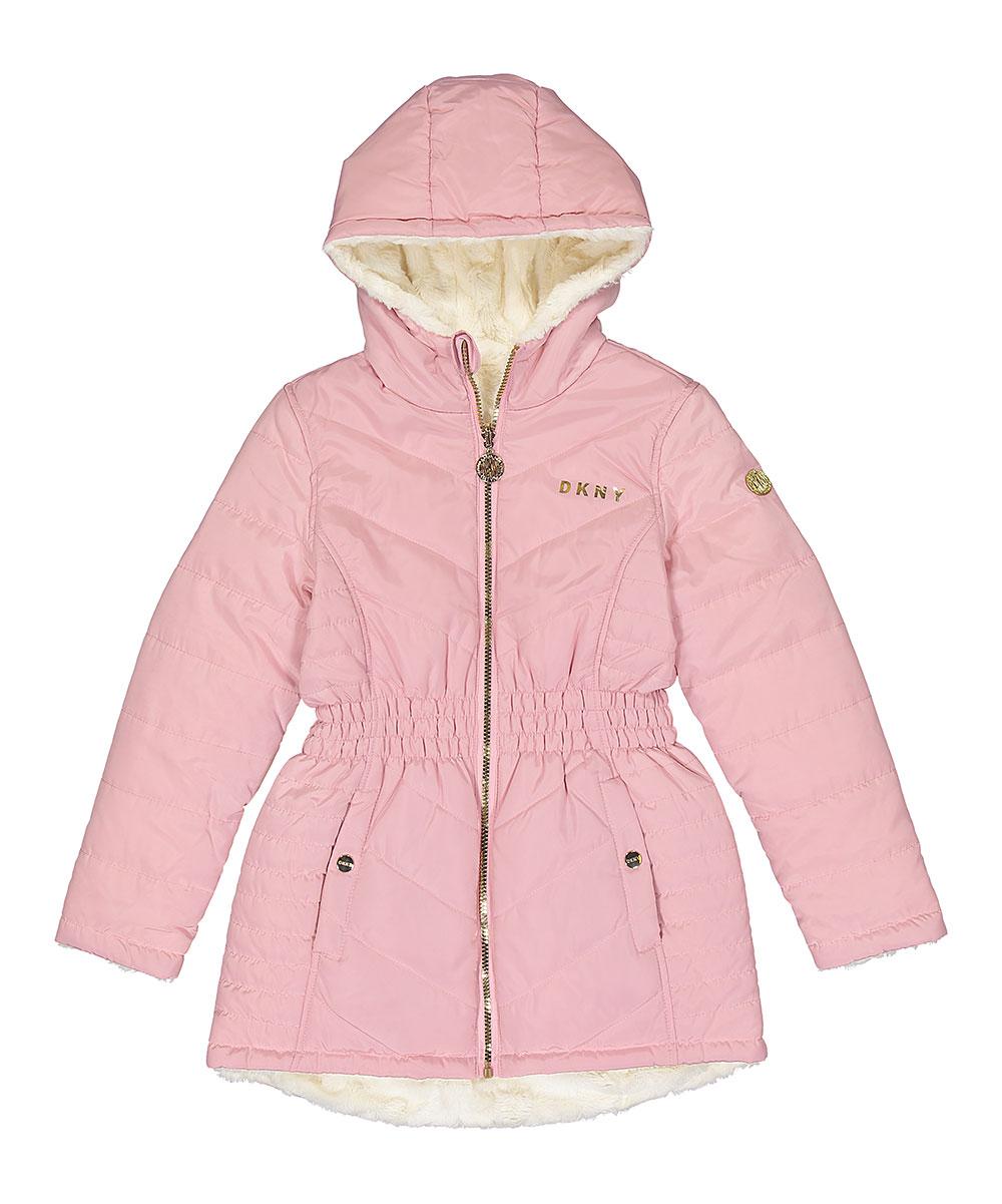 538579ef3803 DKNY Blush Sherpa-Lined Puffer Coat - Girls