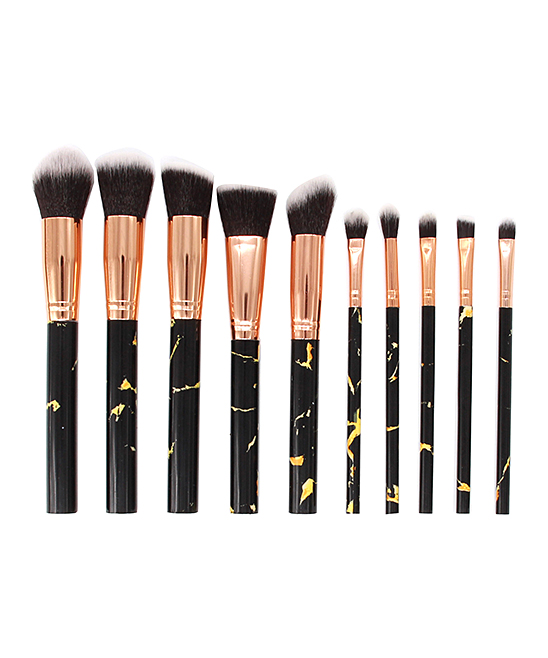 MYBASY 10-Piece Black Marble Print Makeup Brush Set  808ad5194