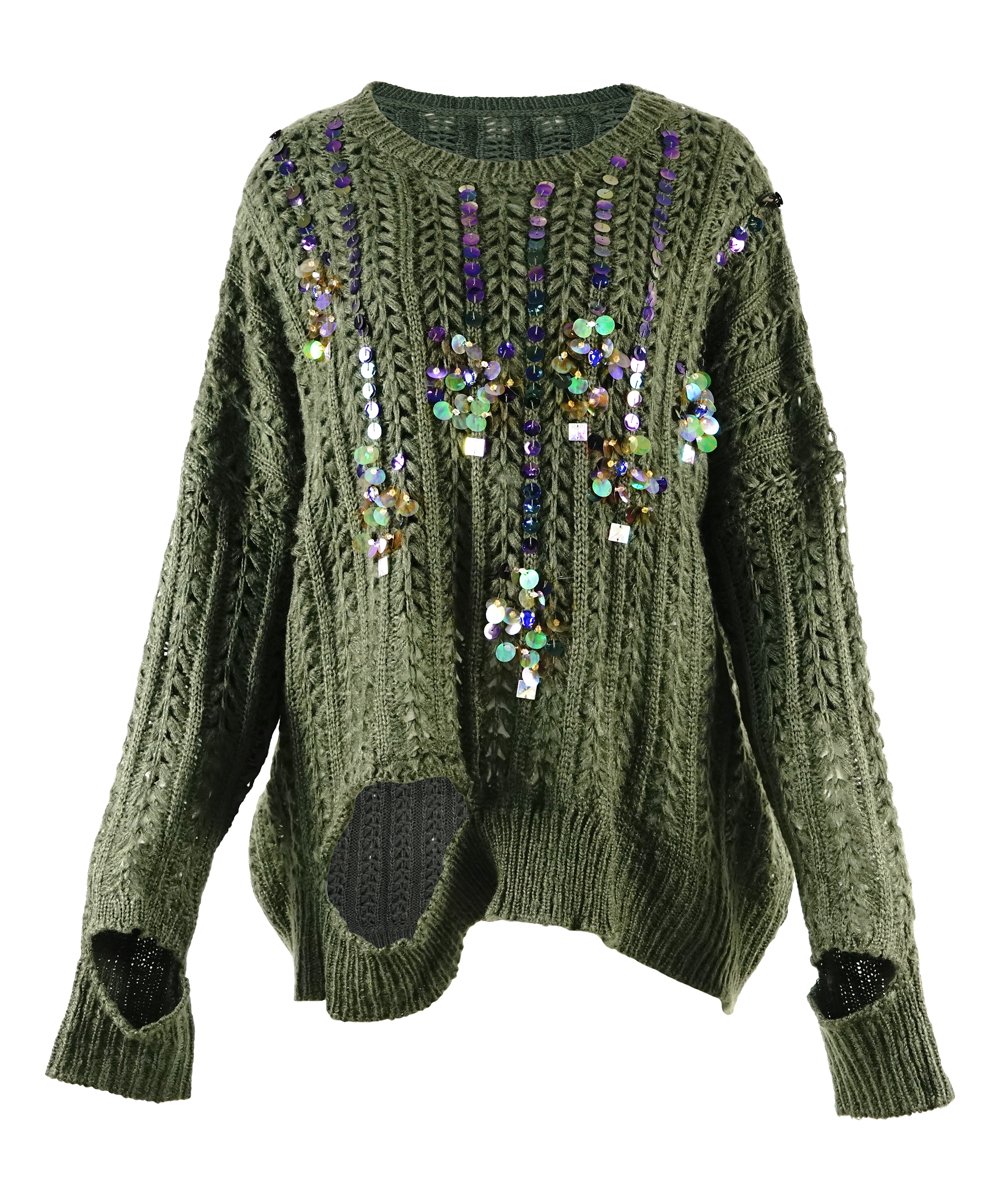 Maison Mascallier Green Beaded Cable Knit Sweater Women Zulily