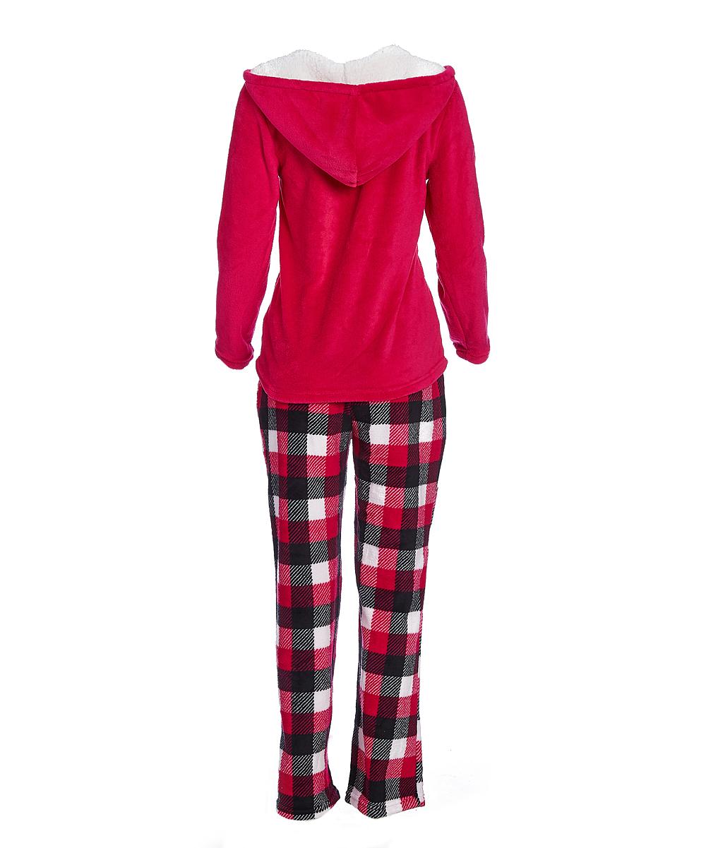 45c6e4052f21 ... Womens Raspberry Red Plaid Plush Raccoon Pajama Set - Alternate Image 2