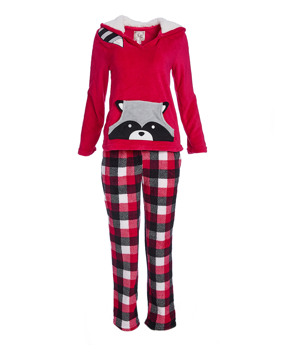 9aa5ad187494 PJ Couture Red Plaid Plush Raccoon Pajama Set - Women