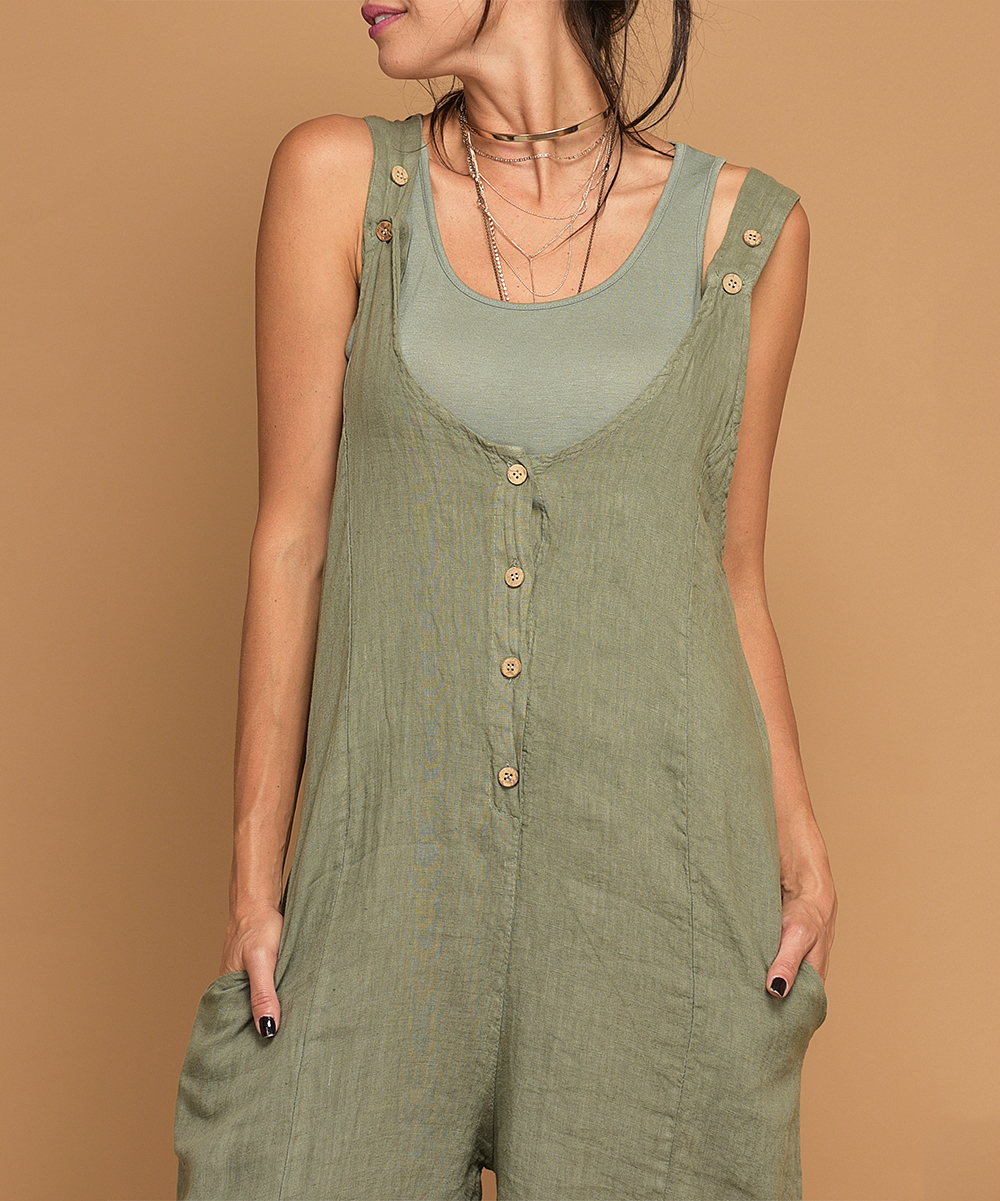 2527c83b6396 ... Womens GREEN Green Petunia Linen Romper - Alternate Image 2 ...
