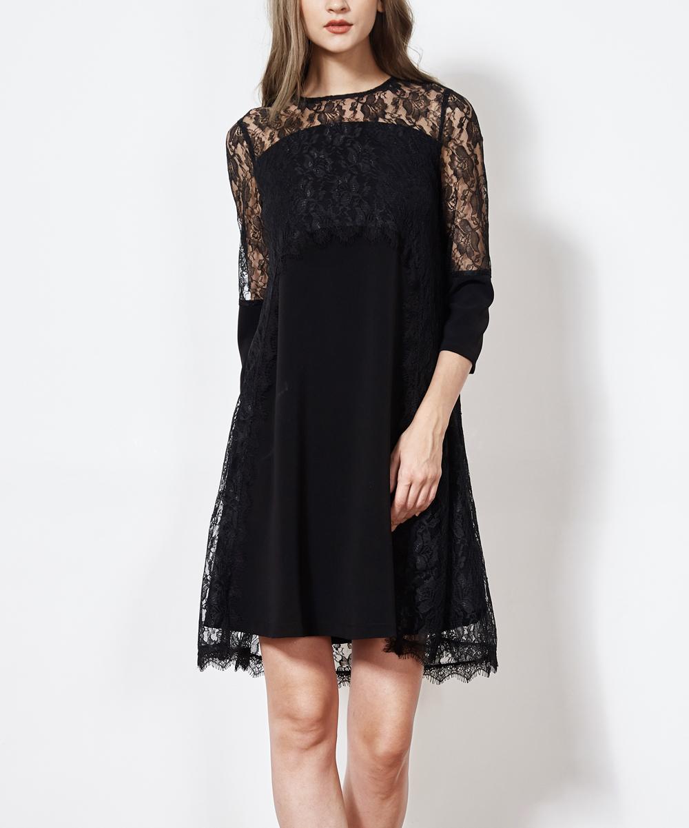 Hone Year Black Lace-Overlay Swing Dress - Women  008b1b88d5