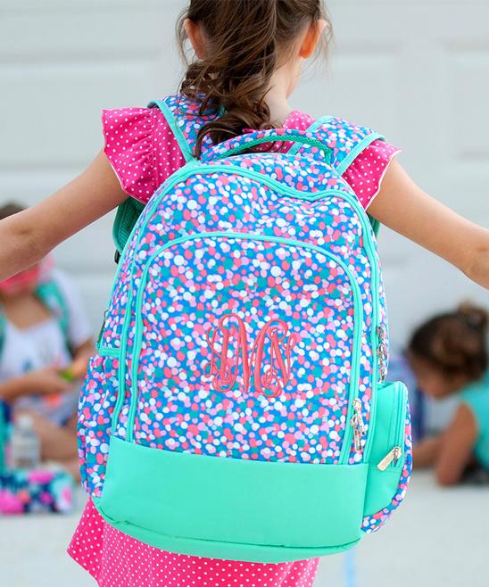 Viv Lou Turquoise Confetti Pop Monogram Backpack  fc593c680ce94