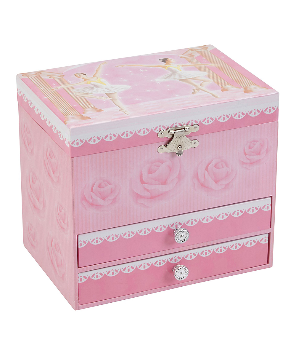 Ballerina Music Jewelry Box Ballerina Music Jewelry Box. Help little ones keep everything from their shinning rings to their beaded bracelets organized with this royal jewelry box that winds up and plays a soft tune.6.75'' W x 5.25'' H x 6.125'' DFour ring rollsFour drawersMedium-density fiberboardImported