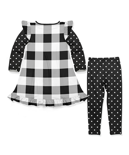 f3e36e791ebcc love this product Black Gingham & Pink Floral Tunic Top & Dot Leggings -  Toddler & Girls
