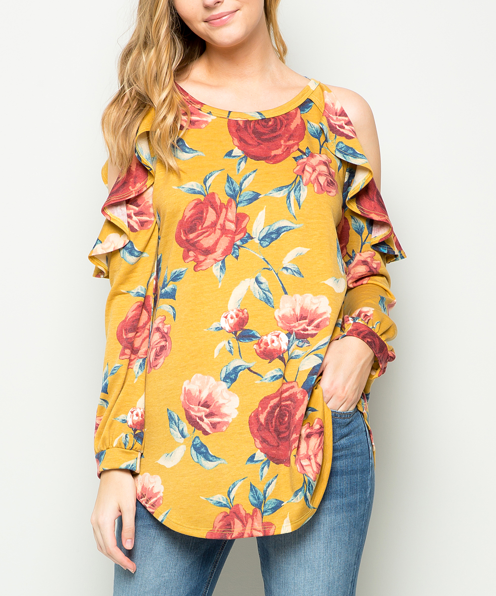 23269d76c3a006 Sweet Lovely Mustard Floral Ruffle Shoulder-Cutout Top - Women