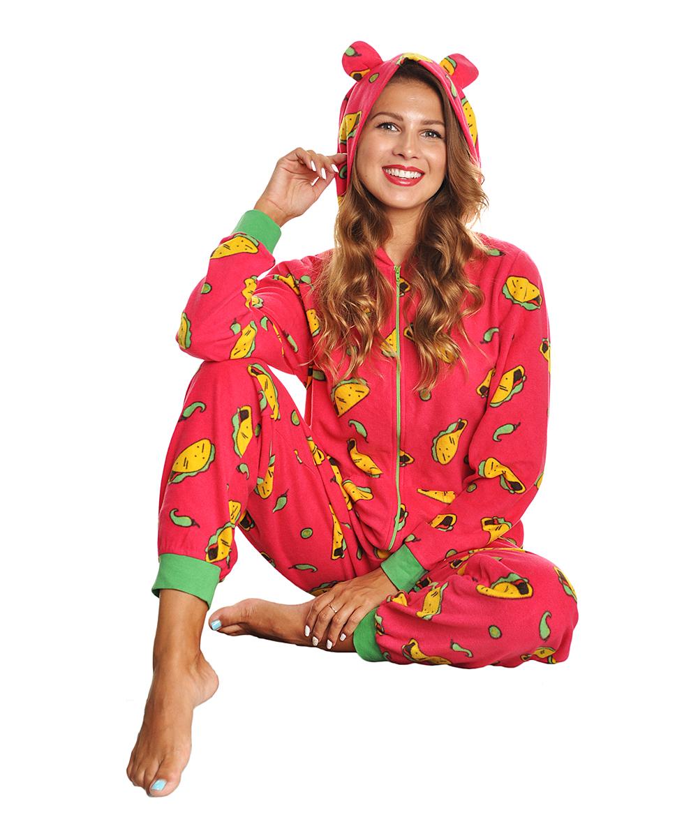 0ba1c5f8b1 ... Womens Taco Pink Taco Hooded Plush One-Piece Pajamas - Alternate Image 3