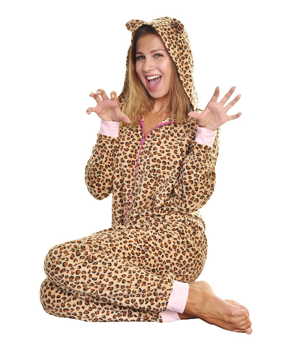 ... Womens Leopard Brown Leopard Fleece Hooded One-Piece Pajamas -  Alternate Image 2 ... 67e70d981