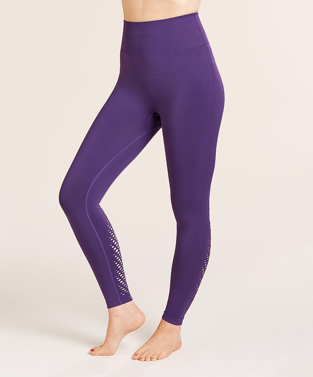 5c96ec09ff7016 ... Womens Purple Purple Seamless Leaf-Cutout Tummy-Control High-Waist  Leggings - Alternate