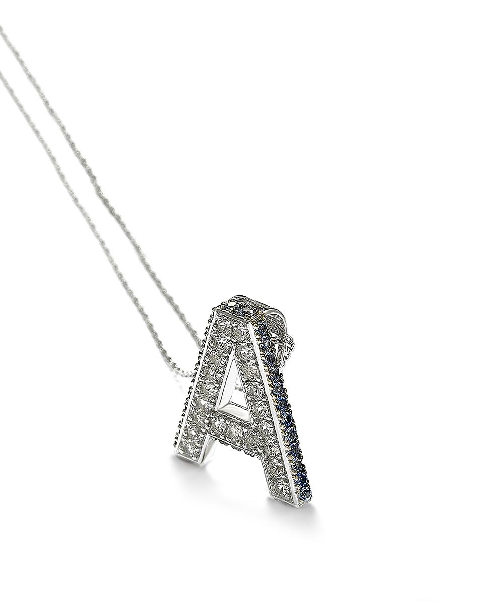 e677f4d9b9c9e Suzy Levian Sapphire & Sterling Silver Diamond-Accent Initial Pendant  Necklace