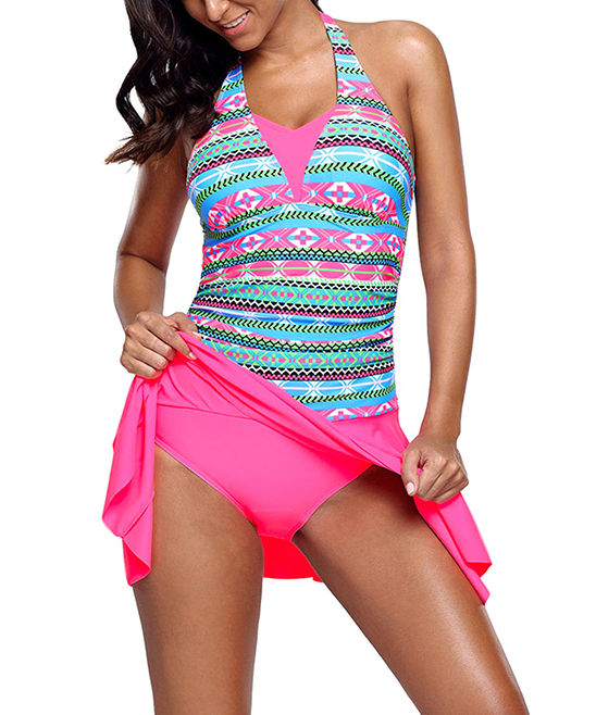 1a02dbc12b6 Dear Lover Pink & Turquoise Geometric Halter Swimdress - Women