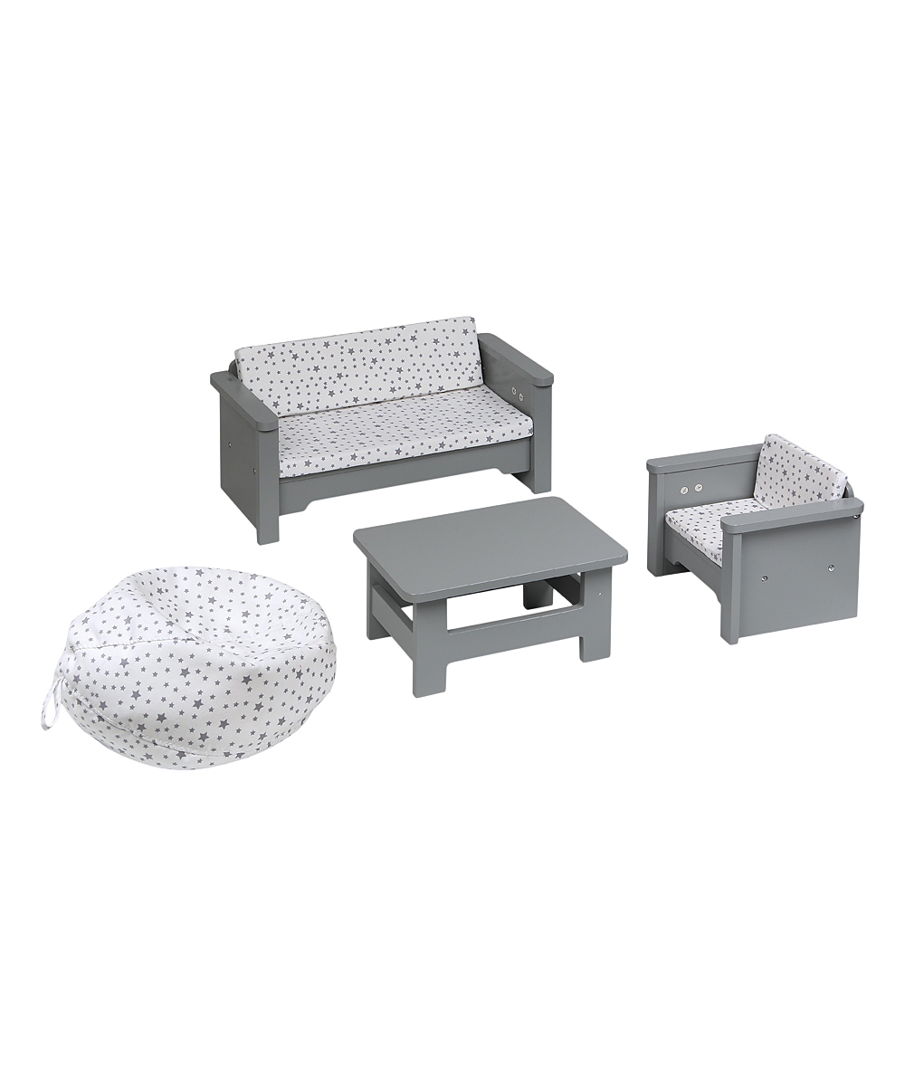 Badger Basket  Doll Accessories Gray/White - Gray & White Doll Living Room Furniture Set