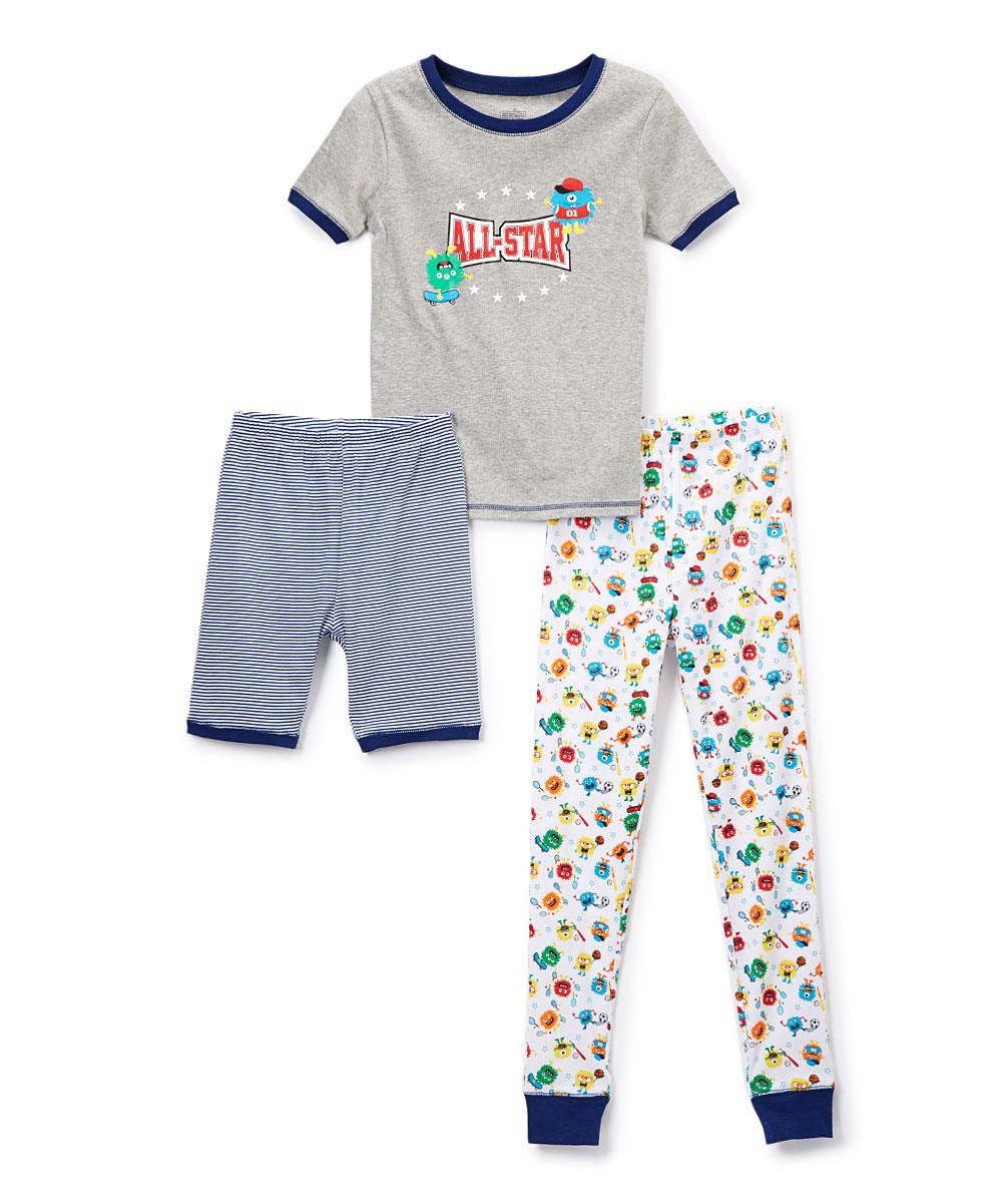 Only Boys Boys' Sleep Bottoms  - Gray 'All-Star' Boys Club Pajama Set - Toddler & Boys