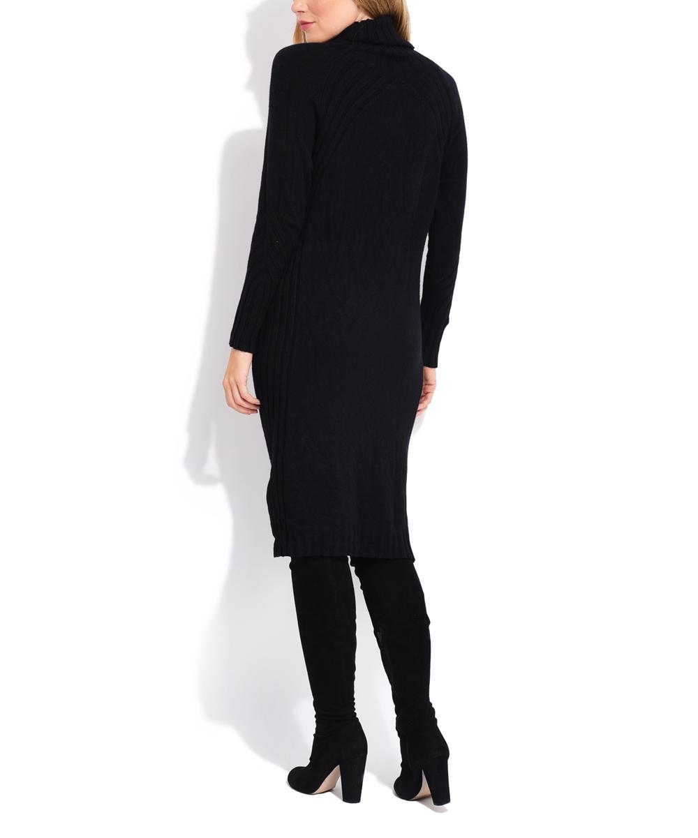 ba85833eb13c La Fille du Couturier Black Ribbed Turtleneck Sweater Dress - Women ...
