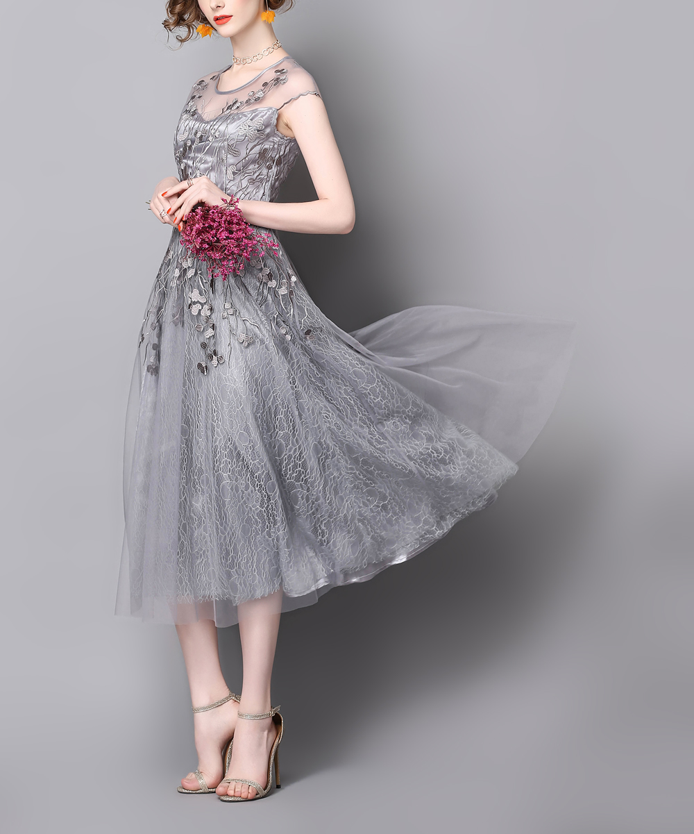 Zeraco Gray Floral-Embroidered Mesh-Overlay Midi Dress - Women  3c34237fedbf