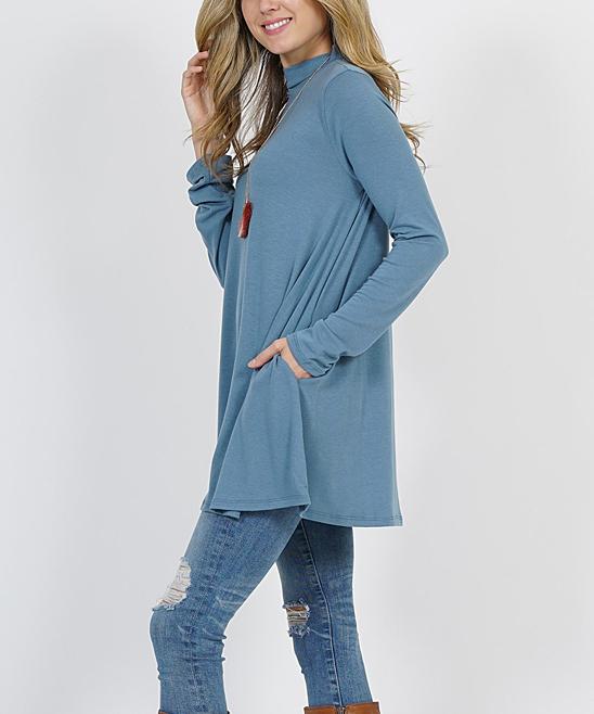 22f92a05d71 love this product Titanium Mock Neck Long-Sleeve Pocket Tunic - Women