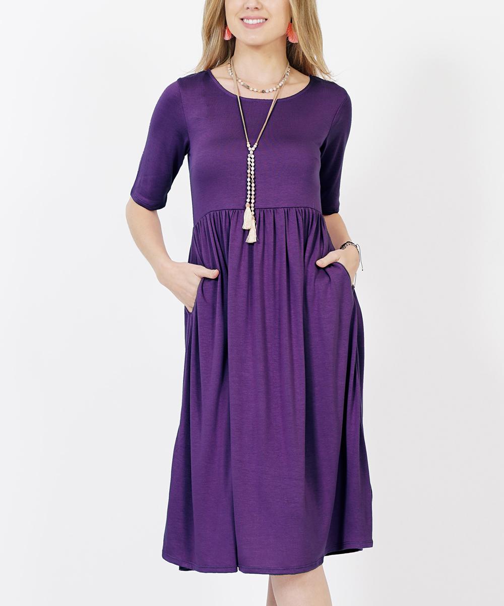 Dark Purple Shirred Empire-Waist Pocket Dress - Women   Plus  8c03235381