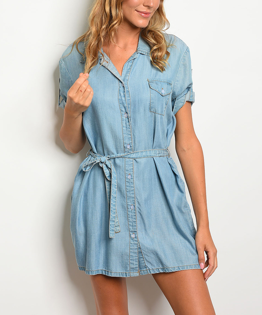 Forever Lily Light Blue Chambray Shirt Dress Women Zulily