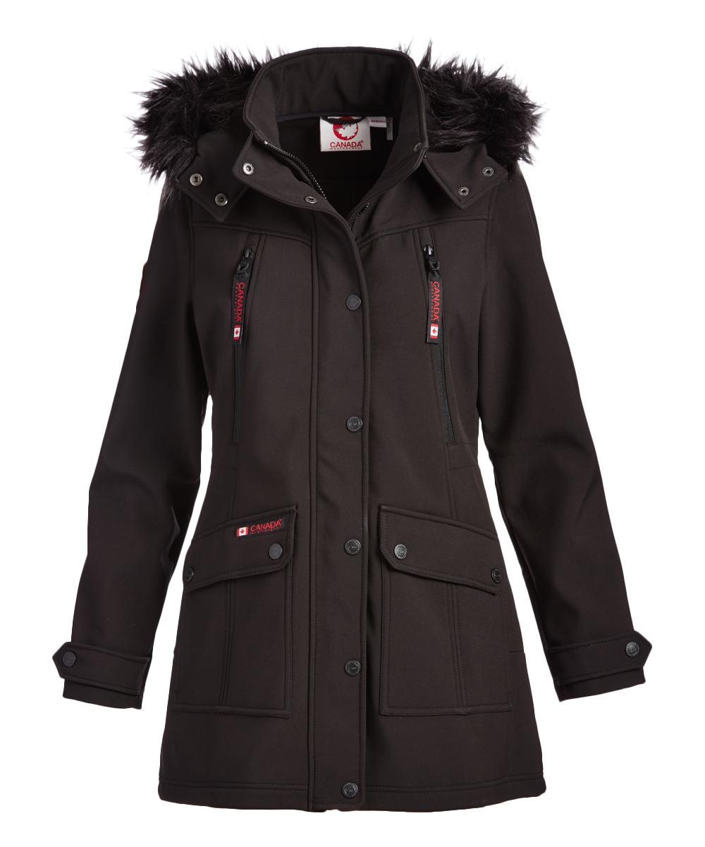 1e6064ee9 Canada Weather Gear Black Faux Fur-Trim Hooded Jacket - Women