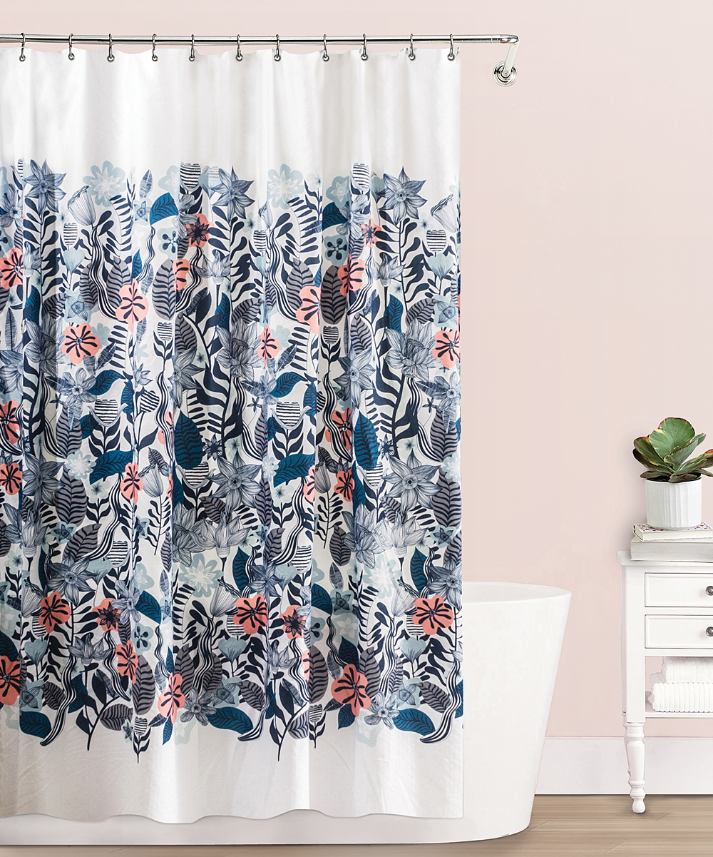 All Gone Blue Coral Florelo Shower Curtain