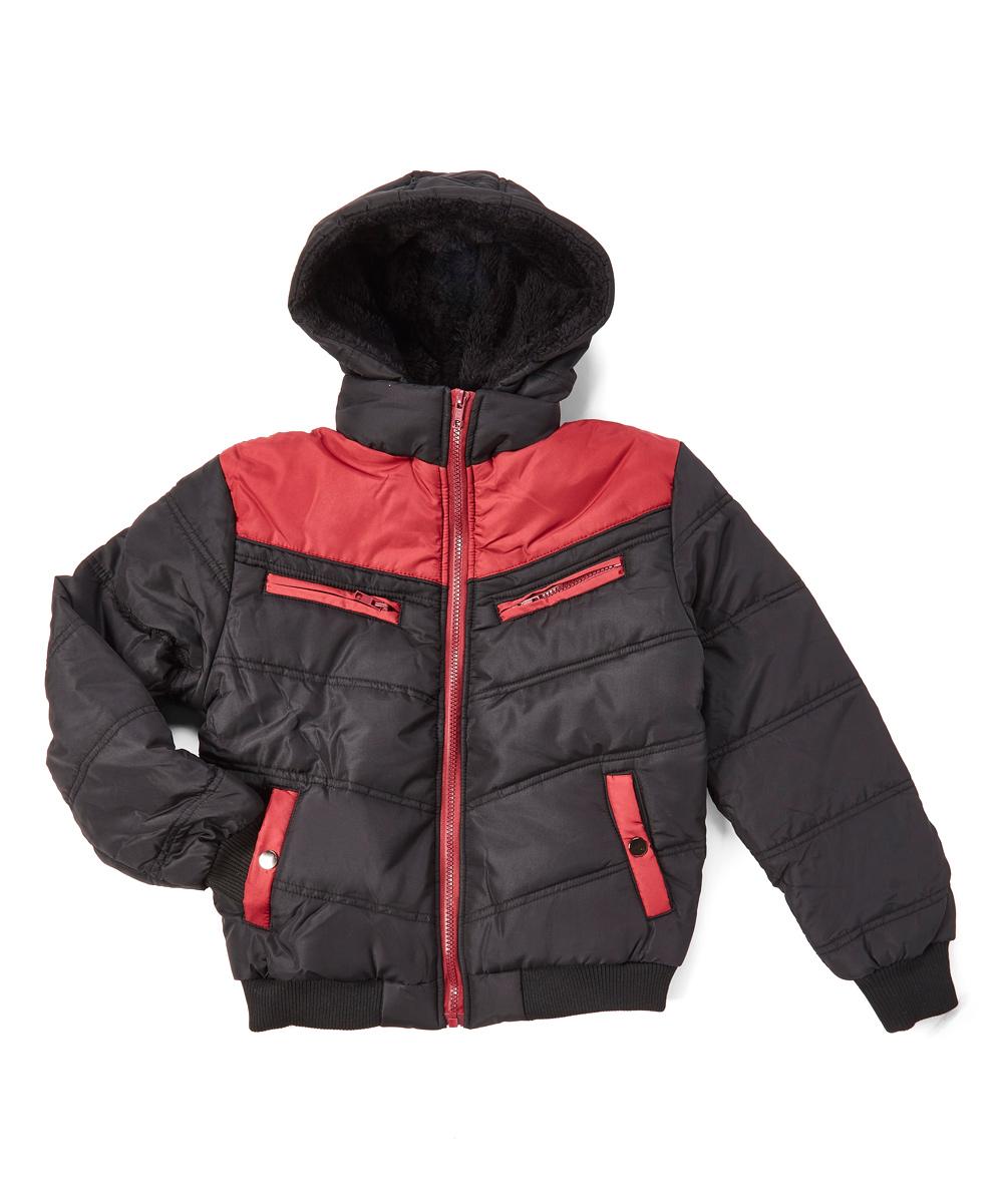 Daniel L Black   Burgundy Zip Puffer Coat - Boys  5781b1f3ce