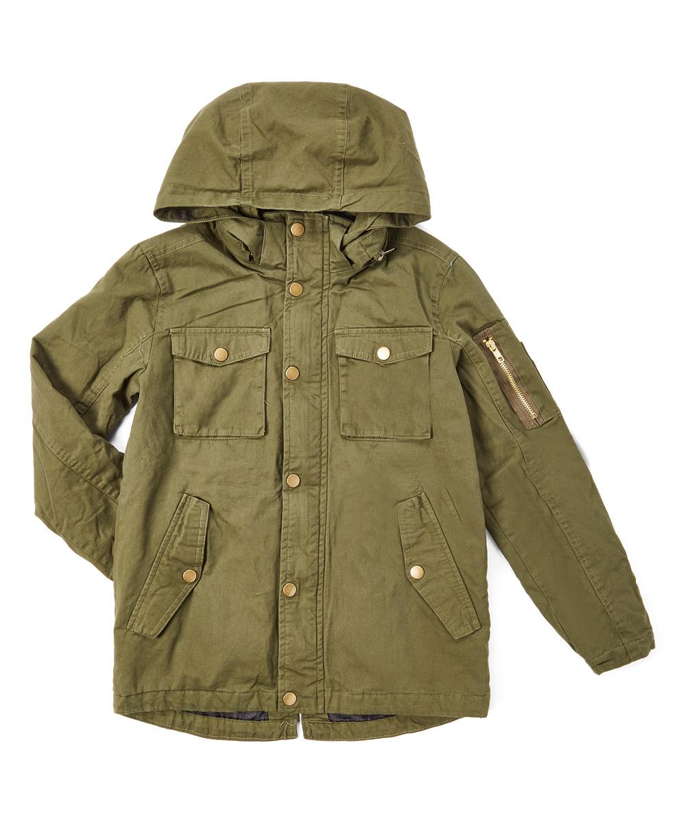 3b8fa346 Daniel L Army Green Cargo-Pocket Hooded Jacket - Boys