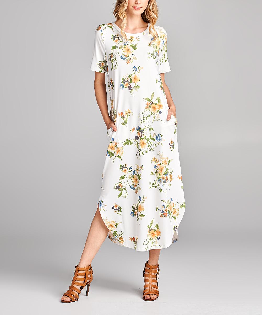 26f1411dd54 Spicy Mix Ivory   Yellow Floral Curved-Hem Pocket Midi Dress - Women ...