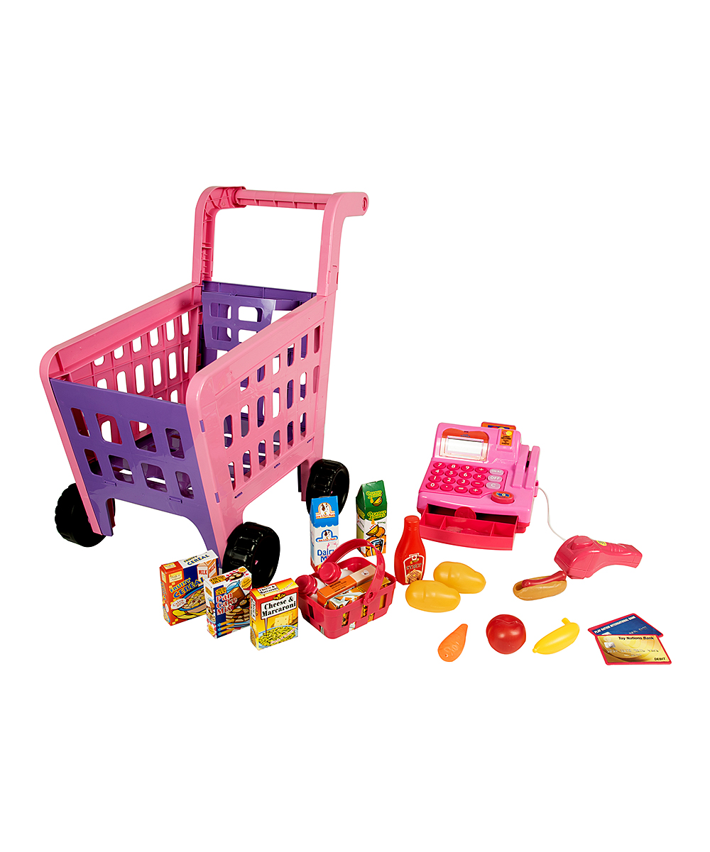 Shopping Cart & Cash Register Play Set Shopping Cart & Cash Register Play Set. Garner your little one's imagination with this grocery shopping play set equipped with realistic lights and sounds.Includes 52 piecesPlasticRequires two AA batteries (included)Recommended for ages 3 years and upImported