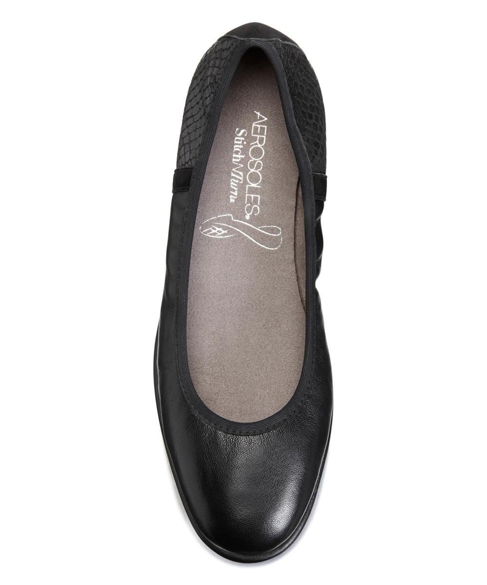 f79b9c69b25 ... Womens BLACK LEATHER 002 Black Better Yet Leather Flat - Alternate  Image 4 ...