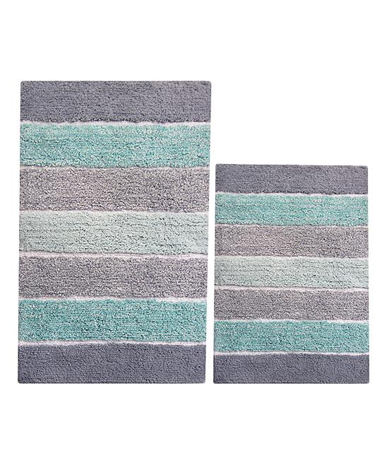 Chardin Mint Green Stripe Two Piece Bath Mat Set