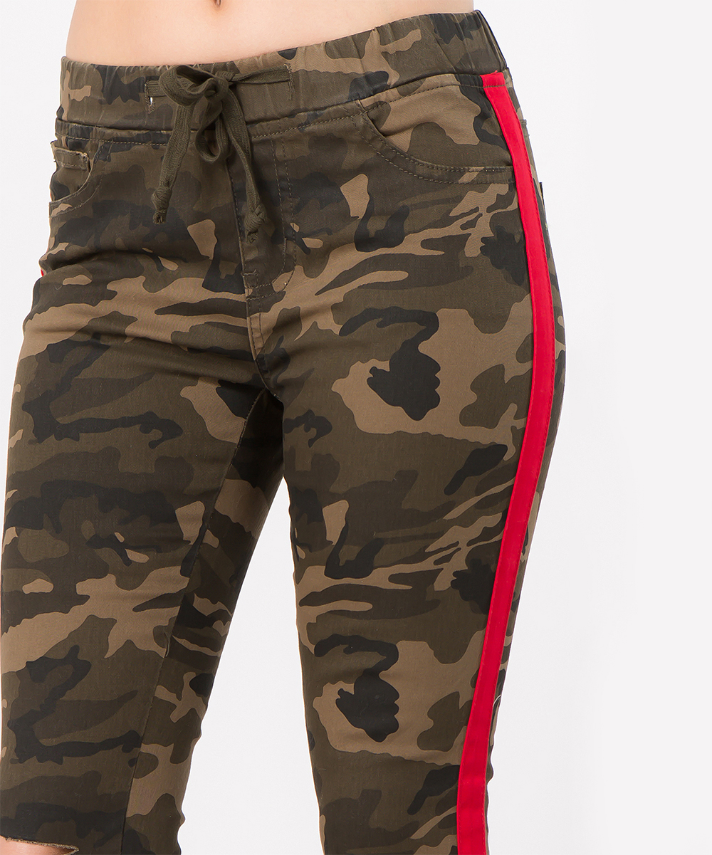 ... Womens CAMO RED Camo   Red Side-Stripe Twill Joggers - Alternate Image  ... 77384afb6