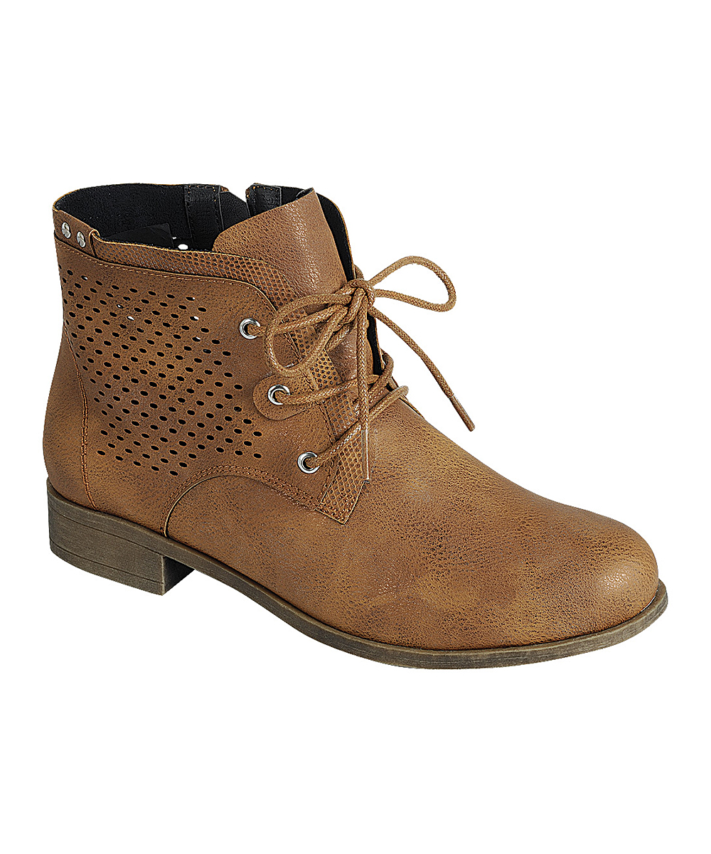 Forever Link Shoes Girls' Casual boots  - Tan Lace-Up Lite Ankle Boot