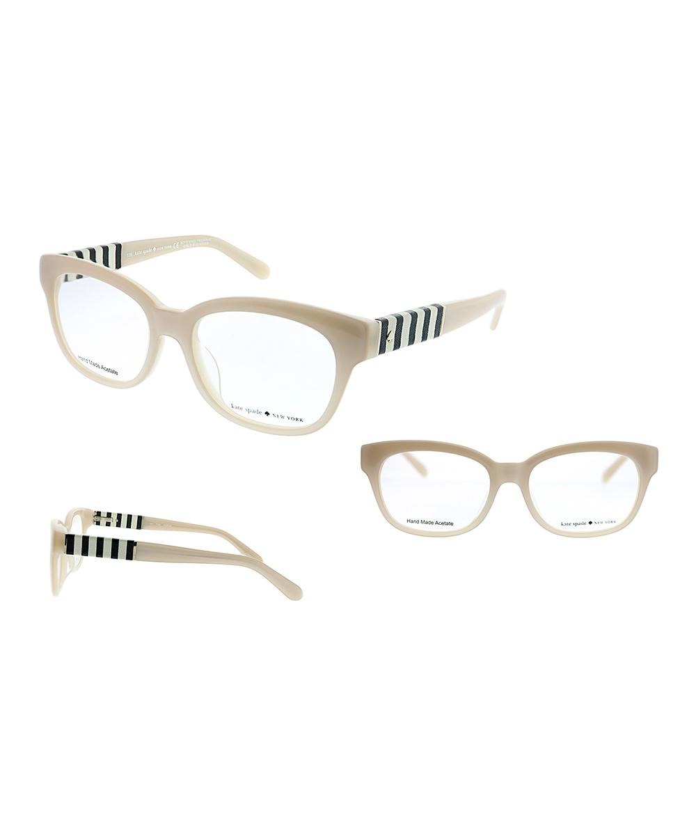 91f8503ef19 ... Womens Cream Stripe Rectangle Eyeglasses - Alternate Image 3 ...