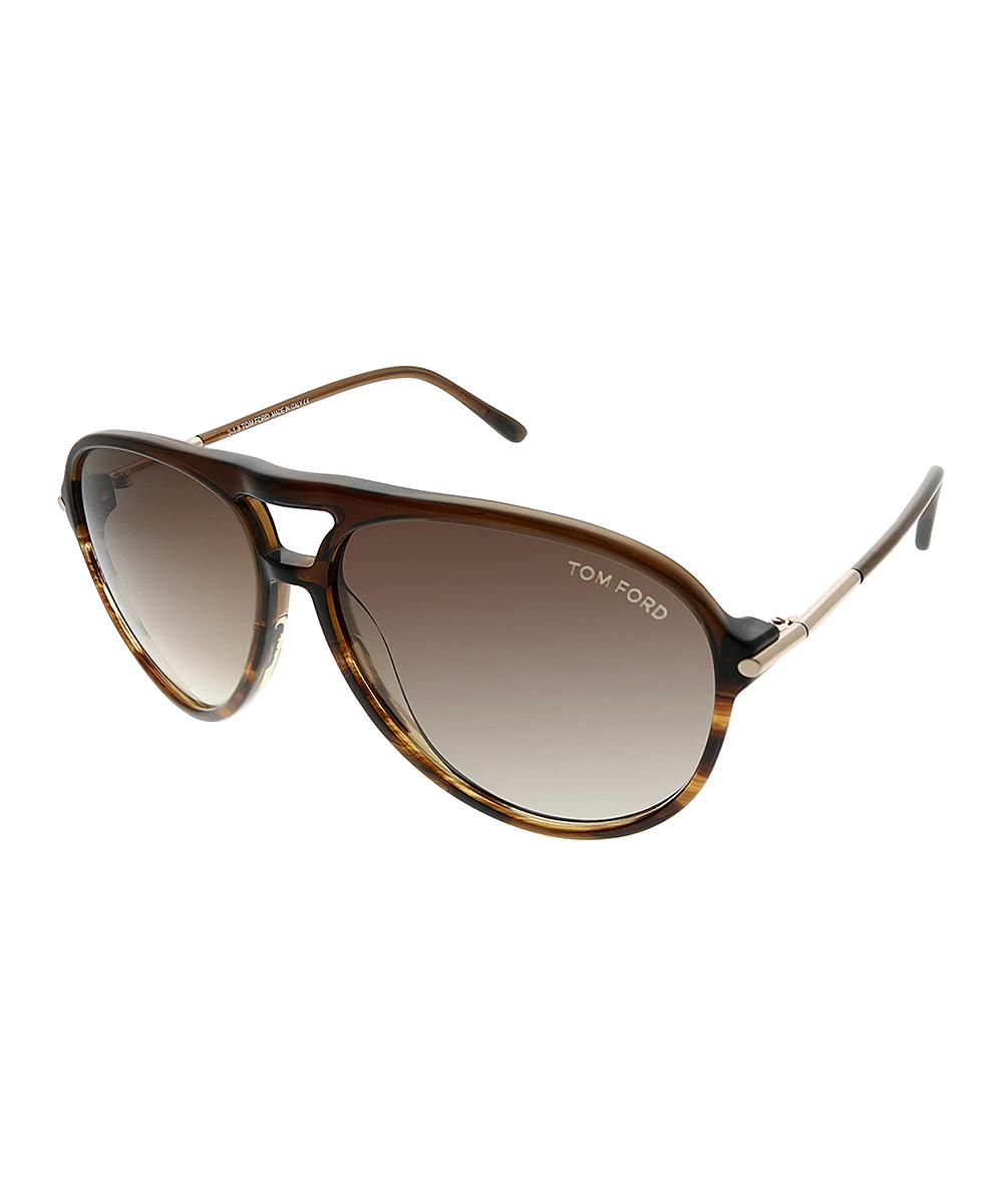 74c87a2e51337 Tom Ford Havana Brown Modified Aviator Sunglasses