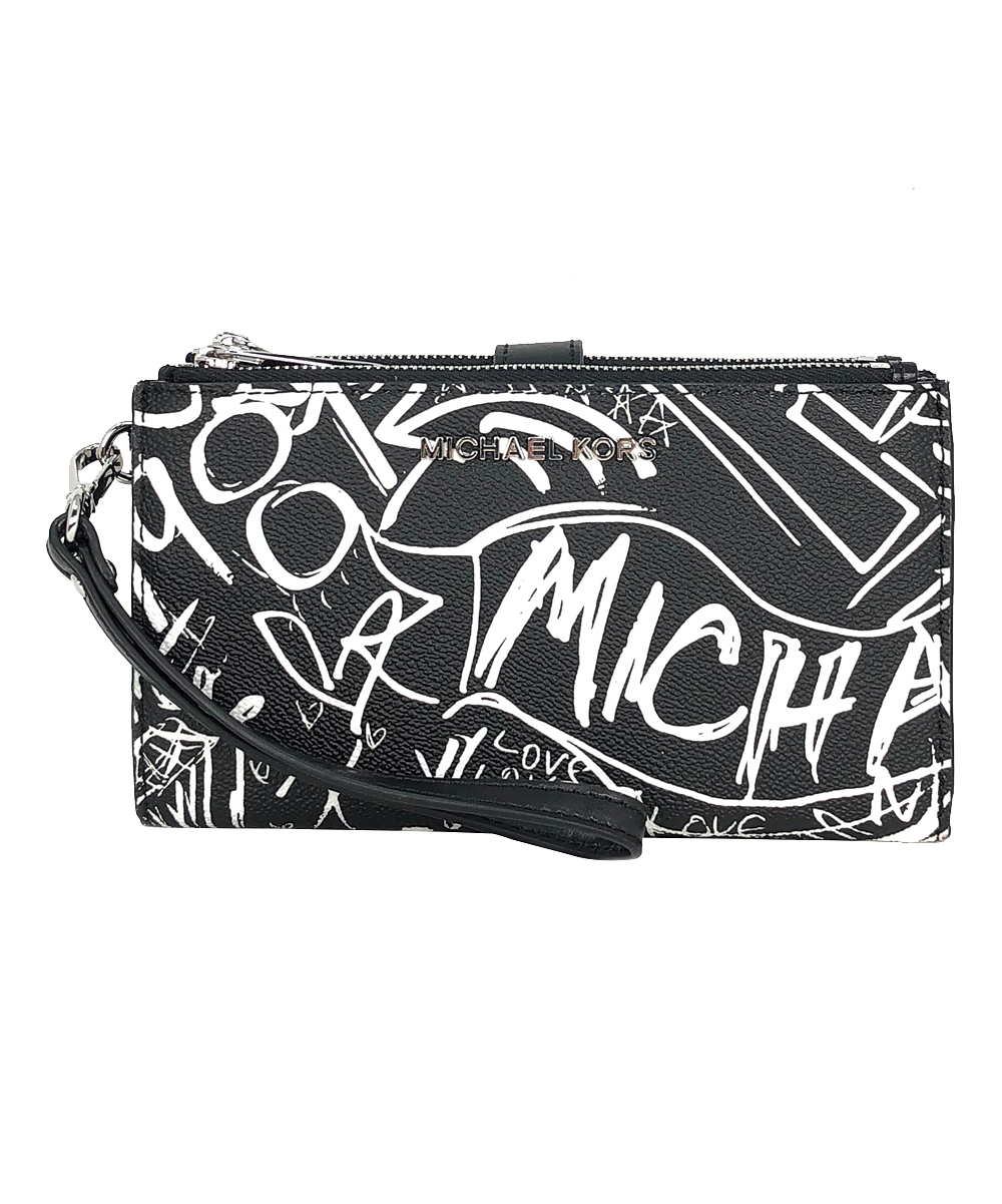 Black Grafitti Jet Set Double-Zip Leather Wristlet