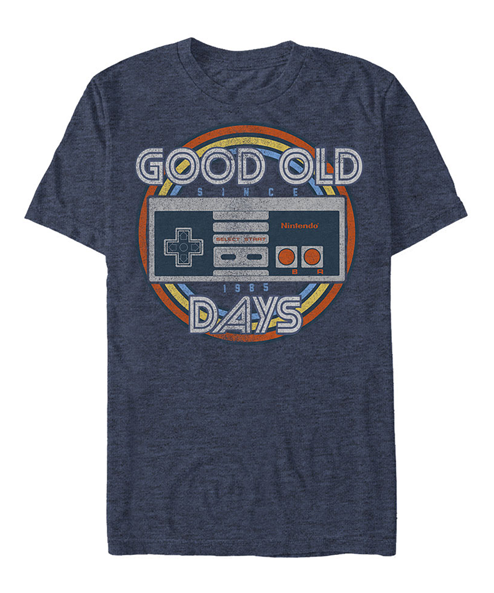 Nintendo Navy Heather 'Good Old Days' Controller Tee - Men Nintendo Navy Heather 'Good Old Days' Controller Tee - Men. Gamers will love the nerdy graphic and soft cotton-blend comfort of this classic crewneck tee. Full graphic text: Good old days, since 1985.Printed with phthalate-free water-based inks50% cotton / 50% polyesterMachine wash; tumble dryImported, screen printed in the USAShipping note: This item is made to order. Allow extra time for your special find to ship.