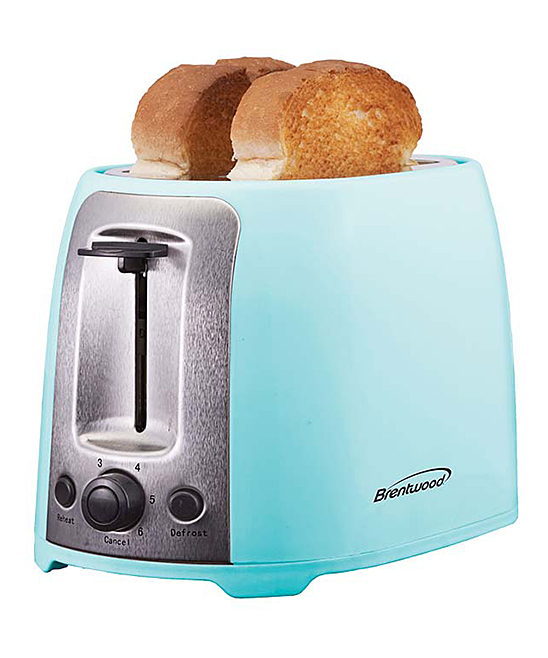 Powder Blue Cool Touch Two-Slot Toaster Powder Blue Cool Touch Two-Slot Toaster. Refresh your kitchen collection with contemporary aesthetic by popping this sleek six-setting toaster on your counter. 10.75'' W x 7'' H x 6.25'' DAluminum / plasticPower: 800WImported