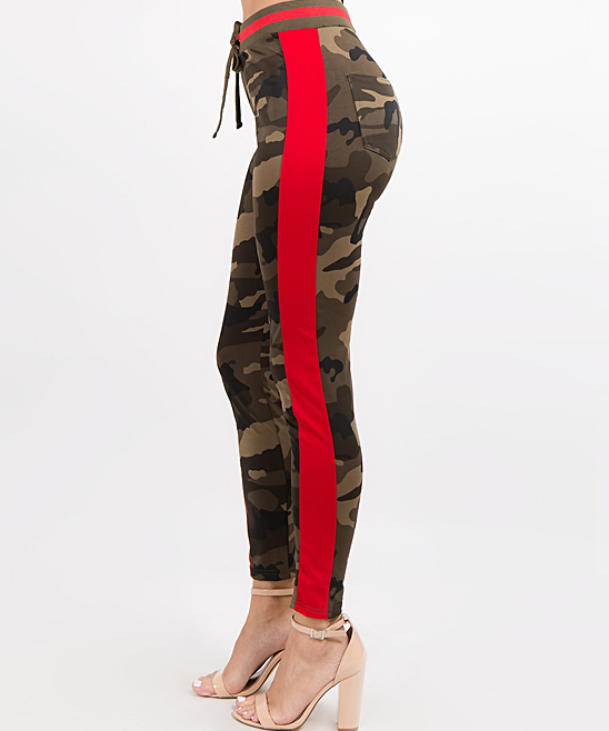 d9de8e0beac3c American Bazi Olive Camo & Red Side-Stripe Track Pants - Women | Zulily