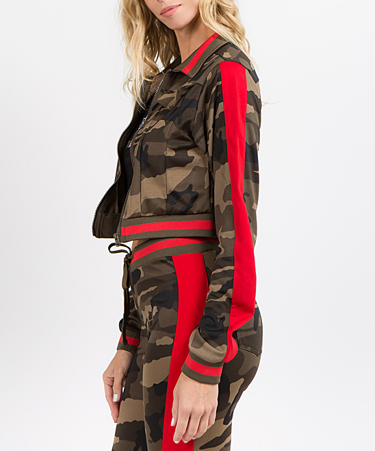 10d4a00669e29 ... Womens OLIVE CAMO RED Olive Camo & Red Side-Stripe Crop Track Jacket -  Alternate ...