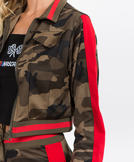 3543e521037cf ... Womens OLIVE CAMO RED Olive Camo & Red Side-Stripe Crop Track Jacket -  Alternate