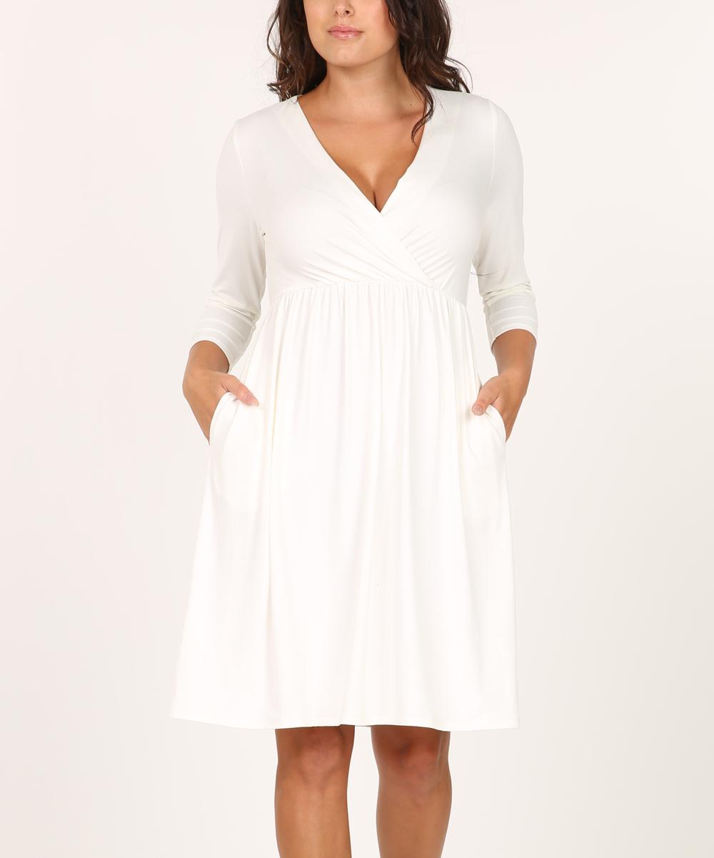 Shop Basic USA Off-White Pocket Empire Waist Dress - Women  61d62d6ef0