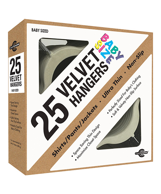 Closet Complete  Hangers IVORY - Ivory Velvet kids Hangers - Set of 25 Ivory Velvet kids Hangers - Set of 25. These velvety non-slip hangers save space in your youngster's closet and keep clothing looking neat and crease-free. Includes 25 top hangers14'' W x 8.7'' H x 0.2'' D eachABS plasticImported