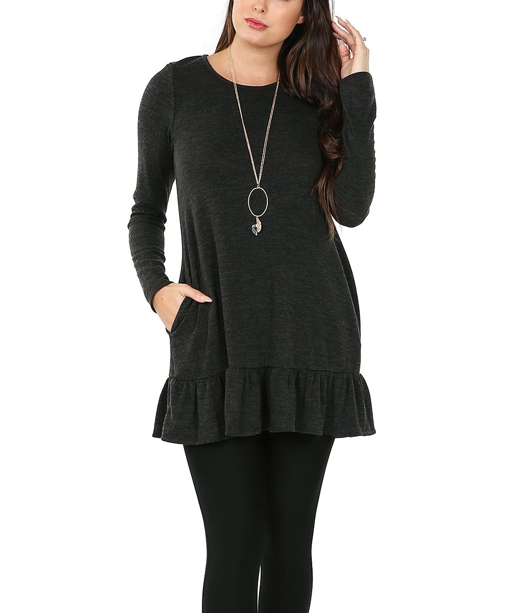 Shop Basic USA Women's Casual Dresses CHARCOAL - Charcoal Ruffle-Trim Tunic - Women