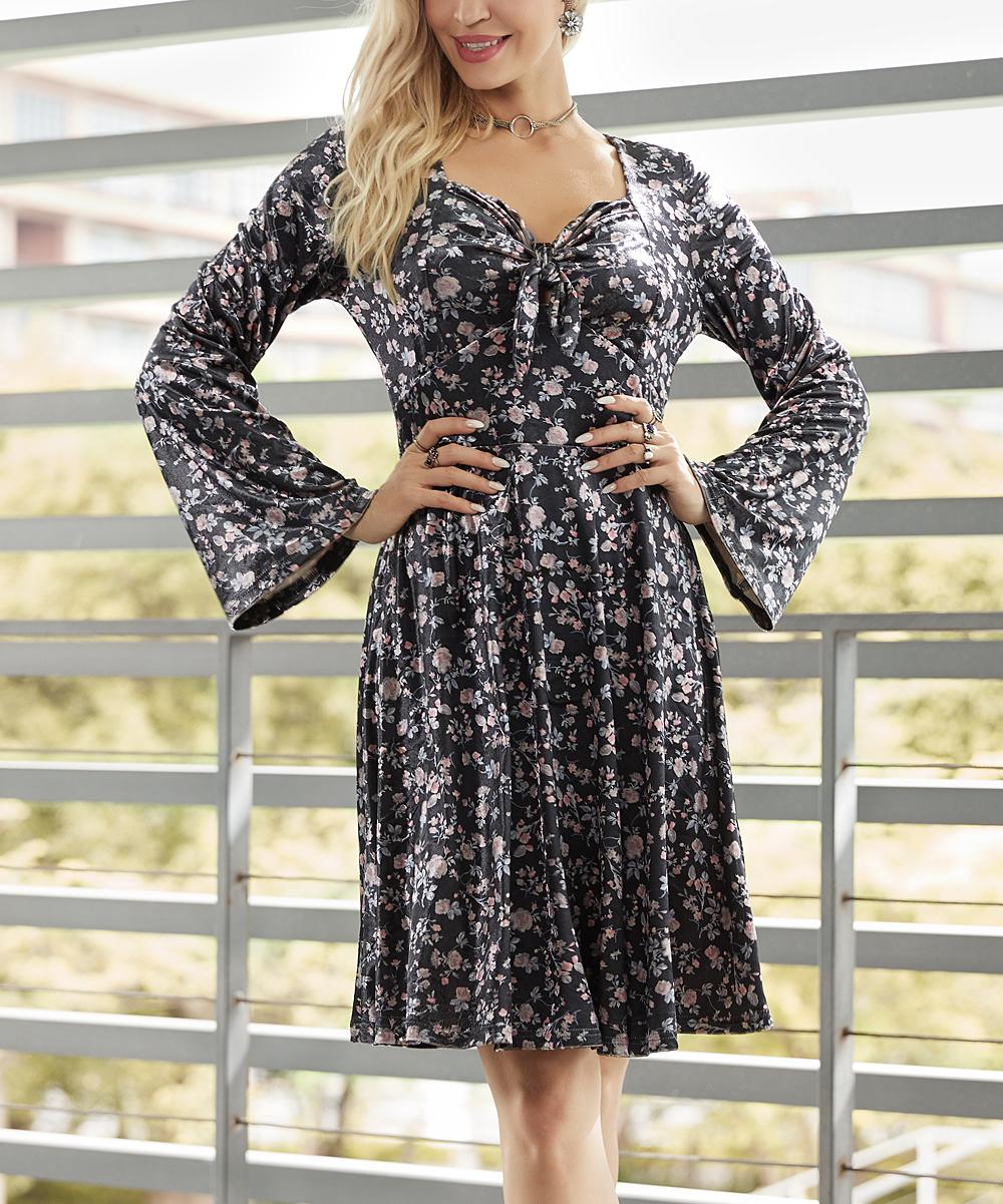 7912d026763e Suzanne Betro Dresses Black Floral Velvet Tie-Front Fit   Flare ...