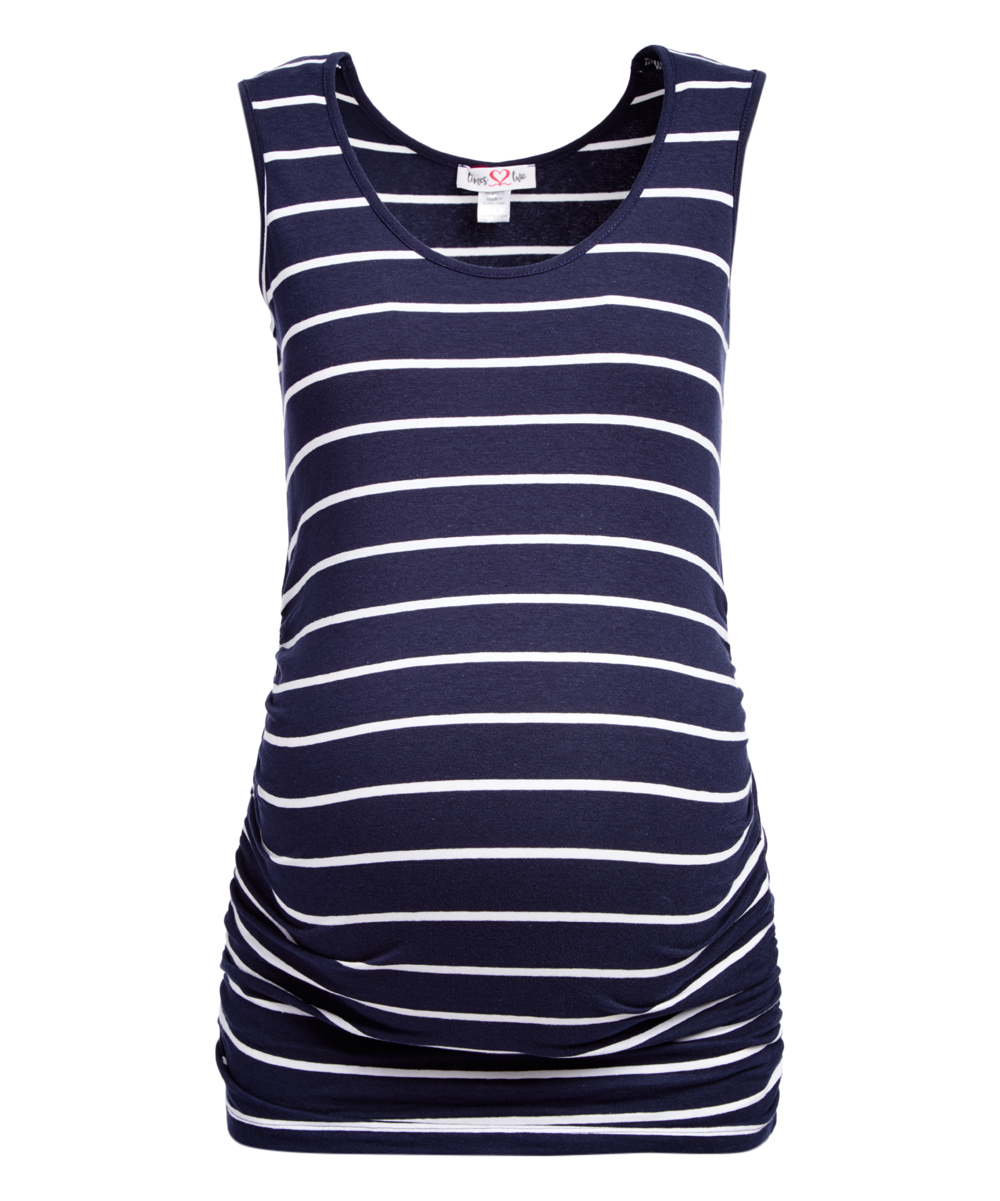 71262f1430db9 Times 2 Navy   White Stripe Maternity Scoop Neck Tank - Plus Too ...
