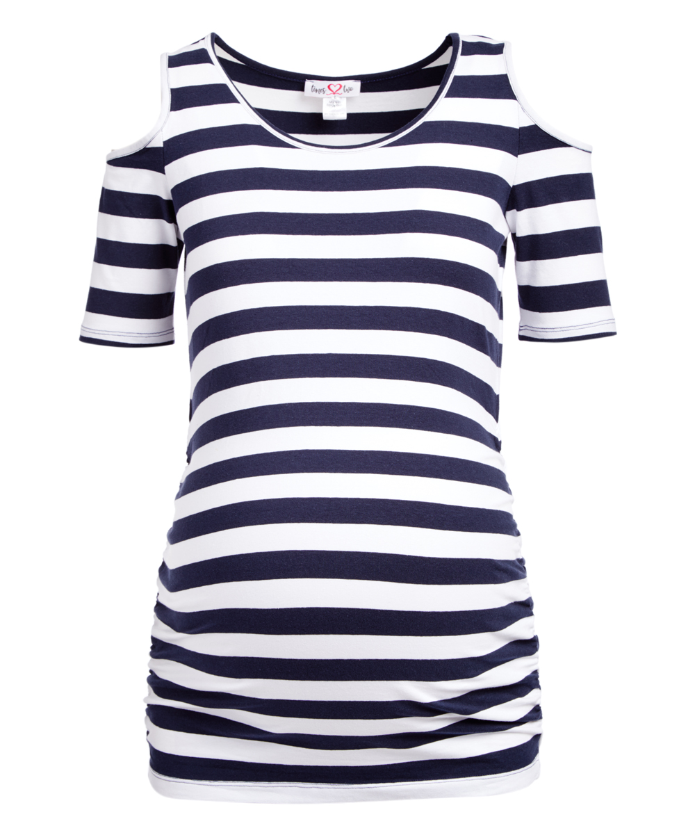5c06226b07d4f Times 2 Navy & White Stripe Maternity Cutout Tee - Plus Too | Zulily