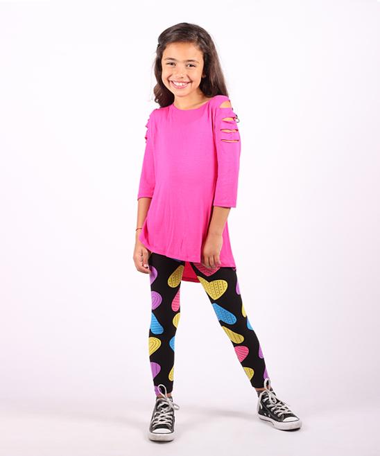 7282ded397e34 Lori & Jane Hot Pink Slit-Sleeve Tunic & Black Heart Leggings ...