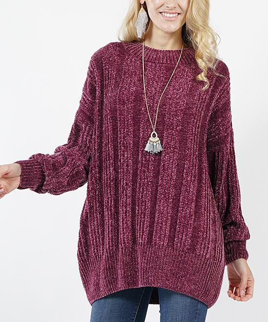 32add55f3 Plum Velvet-Yarn Oversized Crewneck Sweater - Women