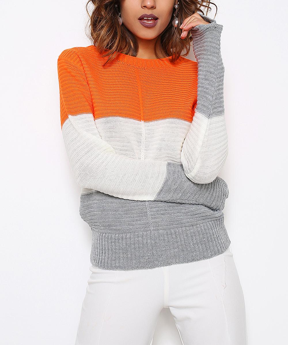 9c0251377 HOPOI Orange   White Color-Block Sweater - Women